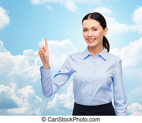 businesswoman touching something imaginary - business,...