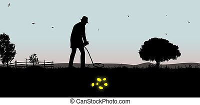 Treasure Hunter - Illustration of a man using a metal...