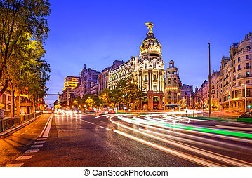 Madrid Spain Cityscape - Madrid, Spain cityscape at night.