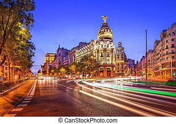 Madrid Spain Cityscape - Madrid, Spain cityscape at night.