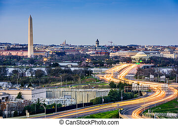 Washington DC Cityscape - Washington, D.C. cityscape with...