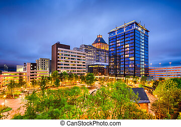 Greensboro, North Carolina, USA downtown city skyline.