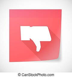 Sticky note icon with a thumb down hand