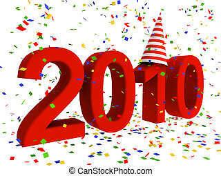 2010 lettering with confetti - 3D lettering of 2010 with...