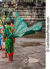 Artists wear traditional costume in Angkor temple,Siemriep,...