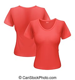 Woman t-shirt - Womens red T-shirt isolated on white...
