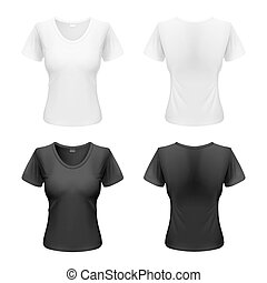 Woman t-shirt - Womens black and white T-shirts isolated on...