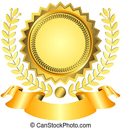 Golden award with ribbon (vector) - Golgen and yellow award...