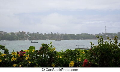Rain in mauritius and boats - tropical rain coming down in...