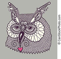 digital drawing of owl head, graphic vector illustration