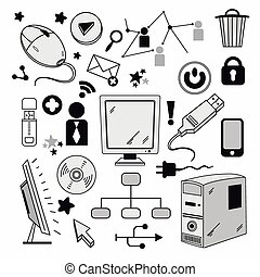 Elements of computer hardware and networks Vector...