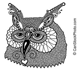 black and white owl head, graphic vector illustration