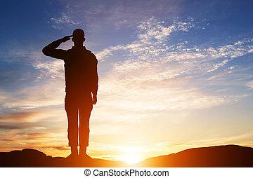 soldado, salute., silueta, en, ocaso, sky., ejército,...