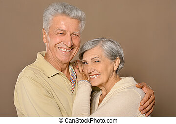 Amusing old couple - Portrait of amusing happy smiling old...
