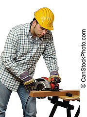 manual worker and electric saw