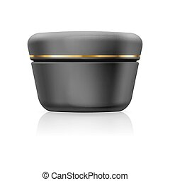 Bank cream - Bank black cream with golden stripe isolated on...
