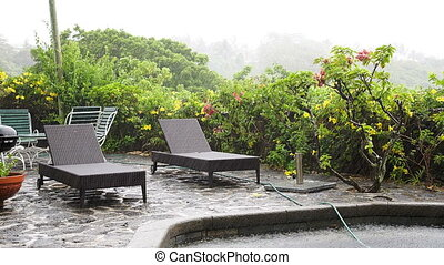 Raining on sunlounges and pool