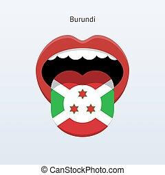 Burundi language Abstract human tongue Vector illustration...