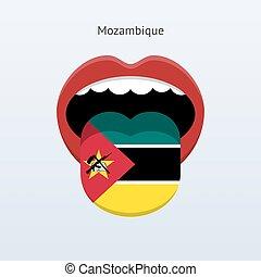 Mozambique language Abstract human tongue Vector...
