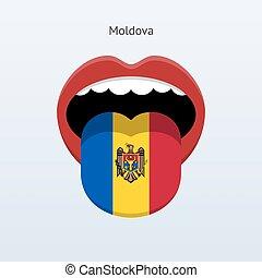 Moldova language Abstract human tongue Vector illustration...