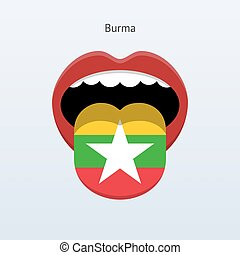Burma language Abstract human tongue Vector illustration