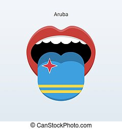 Aruba language Abstract human tongue Vector illustration