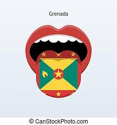 Grenada language Abstract human tongue Vector illustration...
