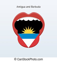 Antigua and Barbuda language. Abstract human tongue. Vector...