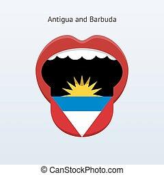 Antigua and Barbuda language. Abstract human tongue. Vector...