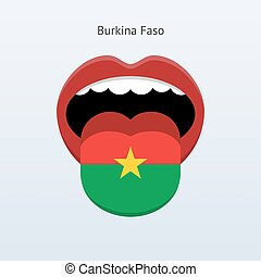 Burkina Faso language Abstract human tongue Vector...