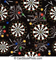Darts Target and darts vector seamless background - Darts...