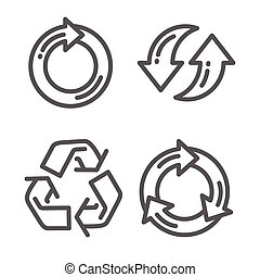 Set of recycle arrow thin line icon