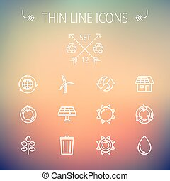Ecology thin line icons - Ecology thin line icon set for web...