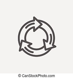 Arrow circle thin line icon - Arrow circle icon thin line...