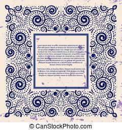 Violet frame on grunge background