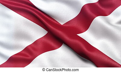 Alabama state flag seamless loop - Realistic HD Alabama...