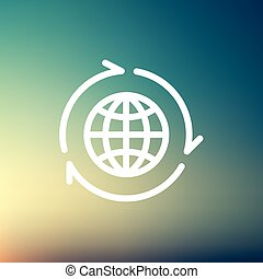 Globe with arrow around thin line icon - Globe with arrow...
