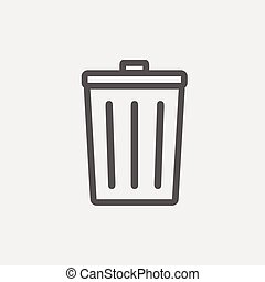 Trash Can thin line icon - Trash can icon thin line for web...