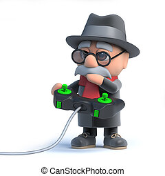 3d Old man playing a video game - 3d render of an old man...