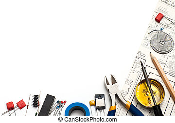 Electronics background - Set of electronic tools components...