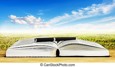 Open book and pen on wood table against blue sky with cloud