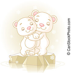 Cute Polar Bears - Couple of cute Polar Bears Hugging on the...