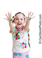 Little girl showing painted hands with funny face isolated