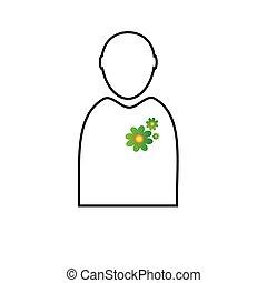 eco flower in man vector - eco flower in man green vector