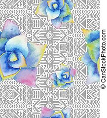 Aztec tribal mexican seamless pattern with watercolor...