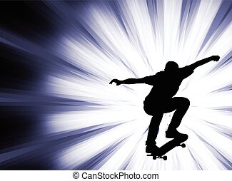 skateboarder - abstract background