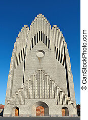 Grundtvigs Church in Copenhagen, Denmark with blue skies in...