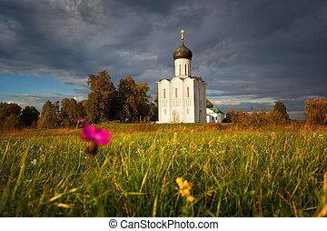Reserved meadow near Church of the Intercession of the Holy...