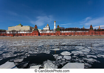 Spring ice drift on the Moskva River against the Moscow...