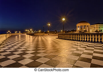 Promenade of Livorno, Tuscany, Italy - Mascagni Terrace at...